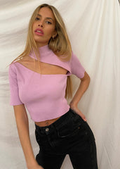 VIOLET RIBBED CUT OUT TOP