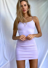 VIOLET RIBBED MINI DRESS