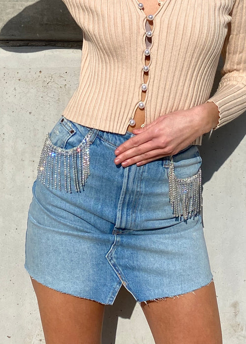 DIAMOND DENIM SKIRT