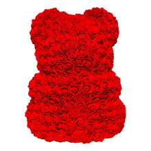 Cargar imagen en el visor de la galería, Red rose bear with white heart. Flower Teddy. Eternity bears. Mother's day gifts. Valentines gifts. Gifts for her.