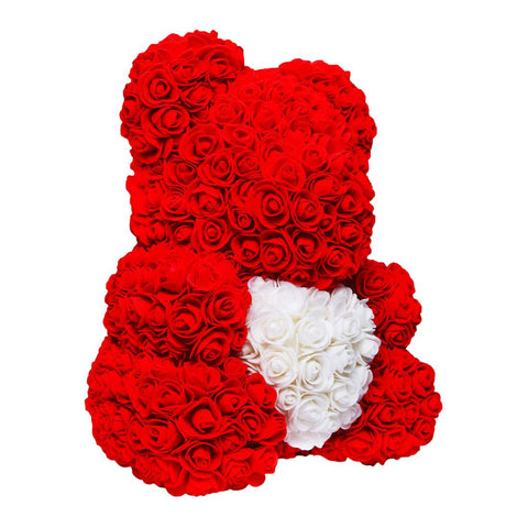Red rose bear with white heart. Flower Teddy. Eternity bears. Mother's day gifts. Valentines gifts. Gifts for her.
