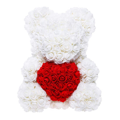 White rose bear with red heart. Flower teddy. Anniversary gifts. Valentines gifts. Mother's day gifts. Gifts for her.