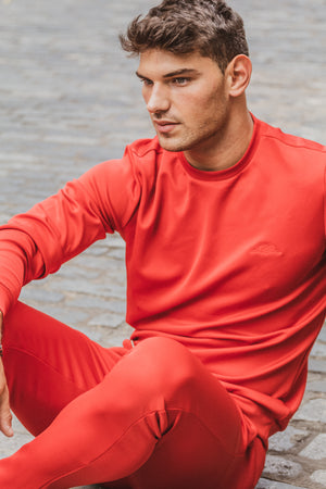 Iconic Athleisure Jersey Trousers in Red