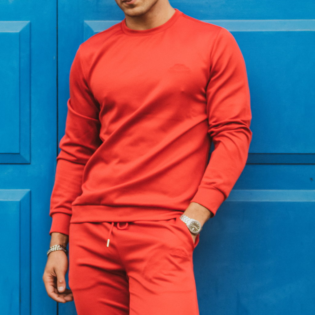 Red Cortior Athleisure Crew Neck Tracksuit Jersey