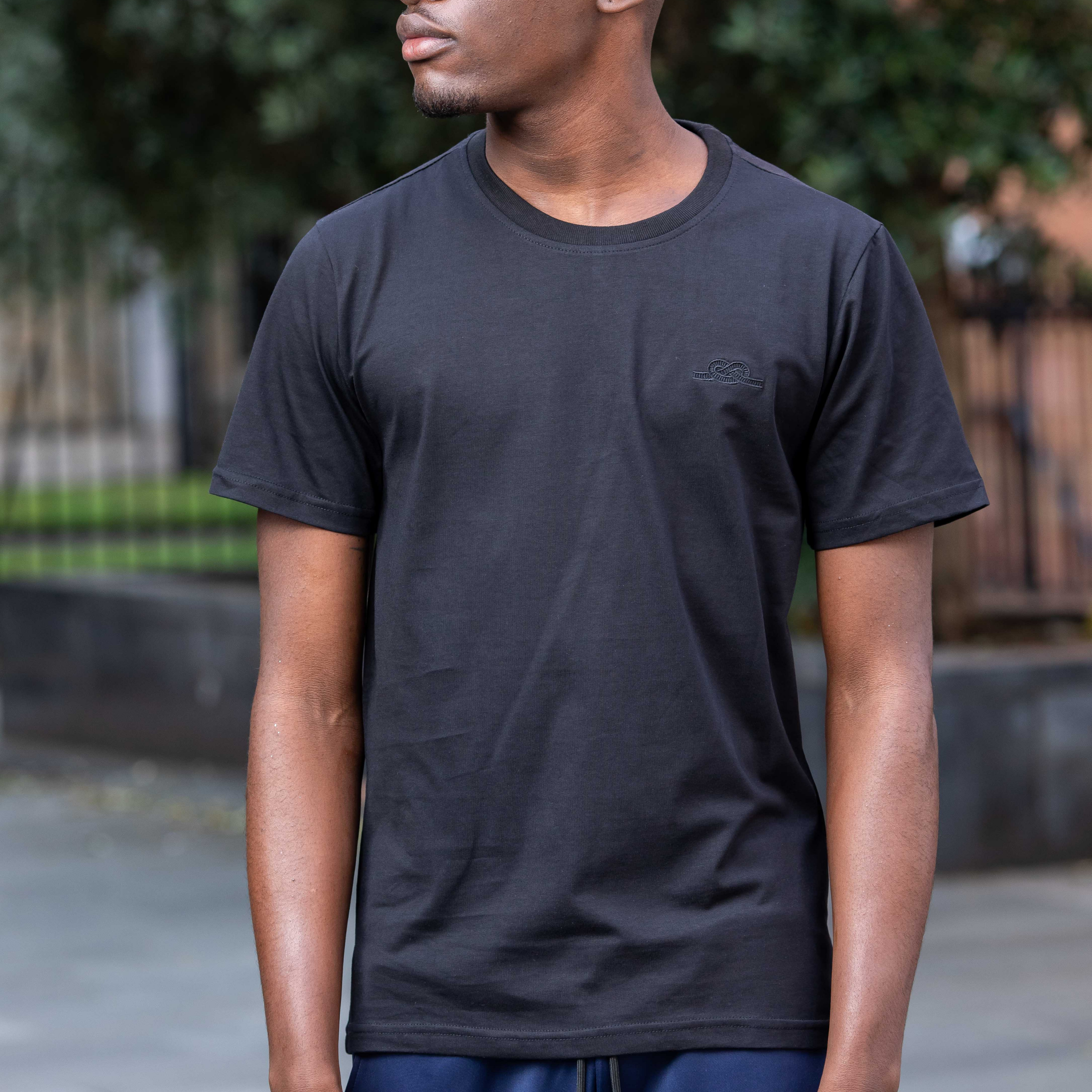 Black Cortior Embroidered T Shirt
