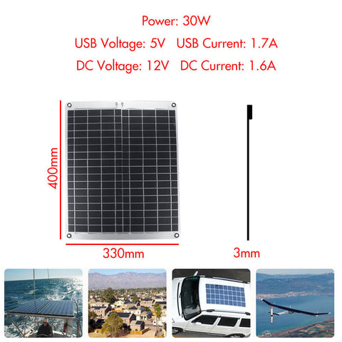 Solar panel with accessories and measurements