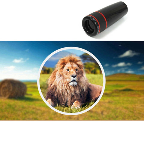 Telephoto Fisheye Lens for Smartphone Resting Lion