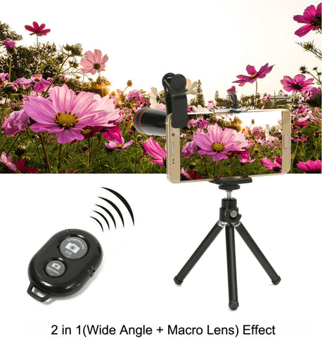 Fisheye lens for smartphone on tripod with bluetooth remote