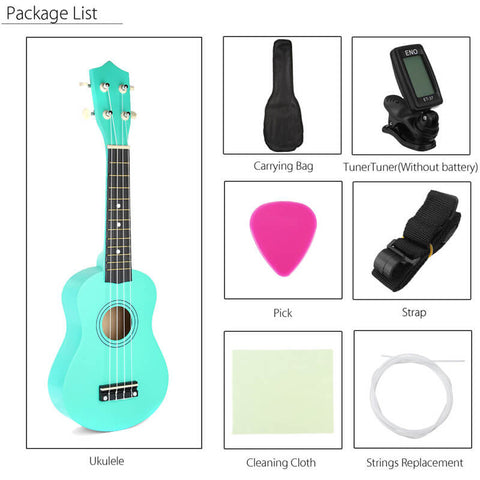 Soprano Ukulele in Basswood with Gig Bag and Tuner Green Package List