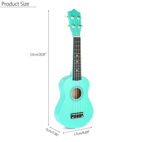 Soprano Ukulele in Basswood with Gig Bag and Tuner Green Dimensions