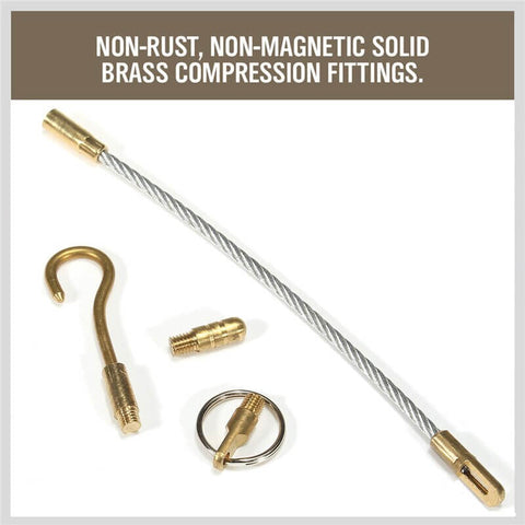 Electrical Fish Tape Running Wire Mesh Cable Coaxial Fiberglass Pull & Push Kit 33 inch