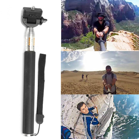 Selfie stick for fisheye lens for smartphone in use