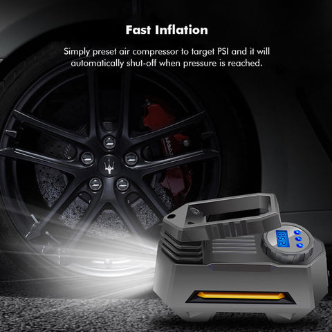 Tire inflator pressure monitor air pump fast inflation