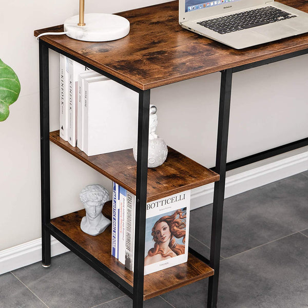 IBUYKE Industrial L-Shaped Computer Desk with Storage Shelves, Space-Saving Corner Desk Stand for Home Office, Large Modern Gaming Table, Study Workstation, Easy Assembly, Rustic Brown UTMJ053H
