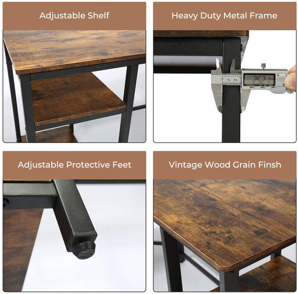 CHADIOR Industrial Desk, 55 Inch Work Surface, Wooden Writting Workstation, Simple Gaming Computer Table with Shelves, for Small Space, Home Office, Bedroom, Rustic Brown