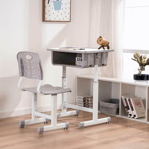 Children's Desk Chair Table Set Students Ergonomic Adjustable Study Kids White