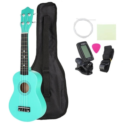 Soprano Ukulele in Basswood with Gig Bag and Tuner Green Components