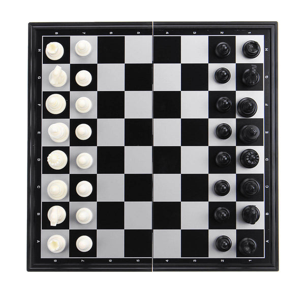 Folding Magnetic Classic Chess Checkers Backgammon 3 in 1 Board Game Set