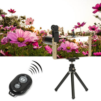 Telephoto Fisheye Lens for Smartphone attached to Smartphone on Tripod Bluetooth  Remote