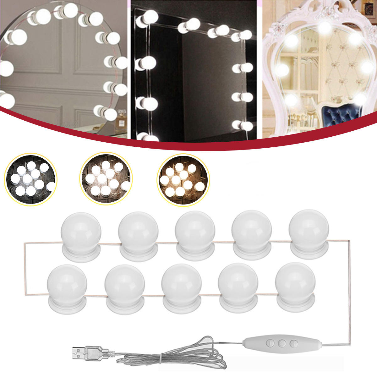 Hollywood Style LED Bulb Vanity Makeup Dressing Table Dimmable Mirror Light Kit