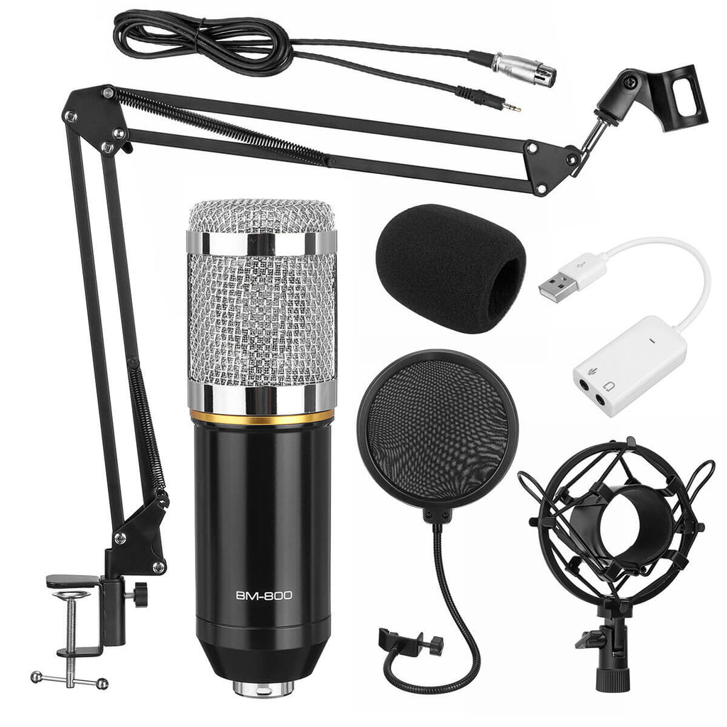 USB Condenser microphone kit for vlogging in silver color