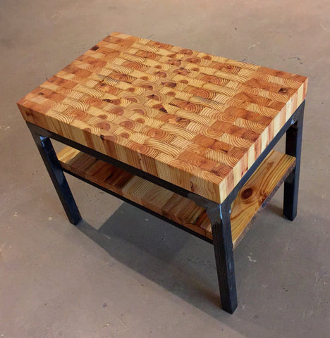 Grand Boulevard End Table with Butcher Block Top
