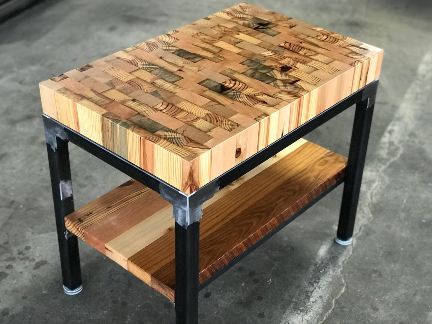 Butcher Block Reclaimed Wood End Table Workshop