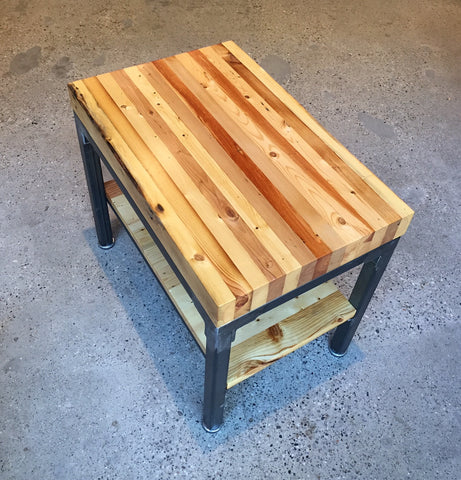 Grand Boulevard reclaimed wood end table by Workshop™ - Handcrafted in Detroit