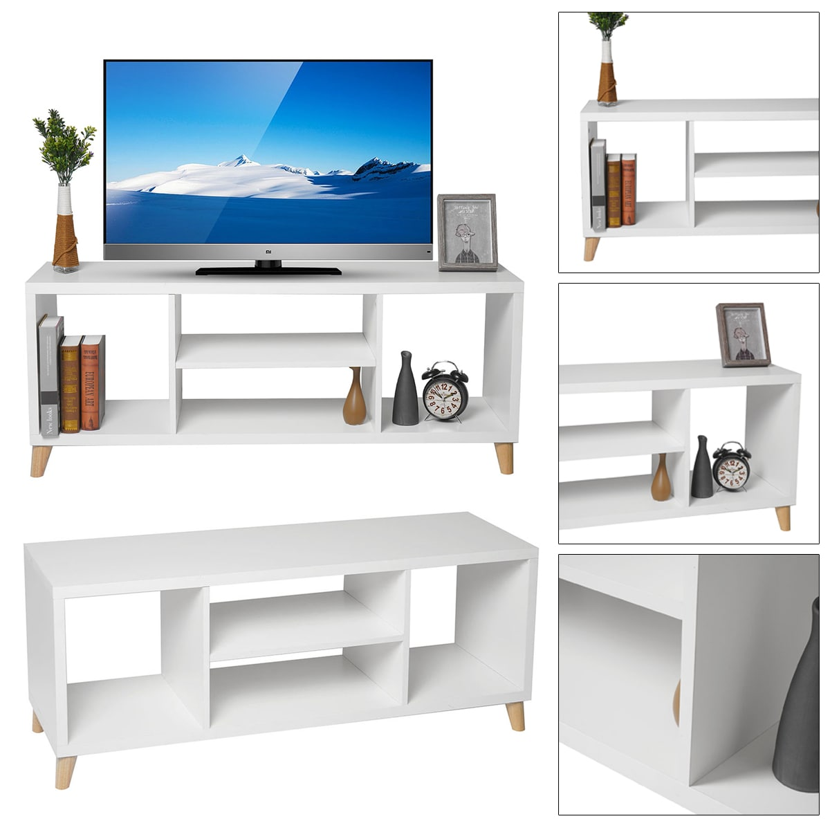 tv stand with items