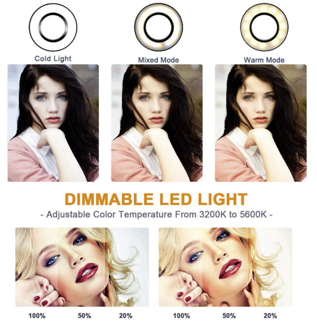 "Ring Light Kit 10"" Dimmable LED Bulbs 128 pcs Self-Portrait Shooting with tripod stand and phone holder for Camera, Smartphone, YouTube"