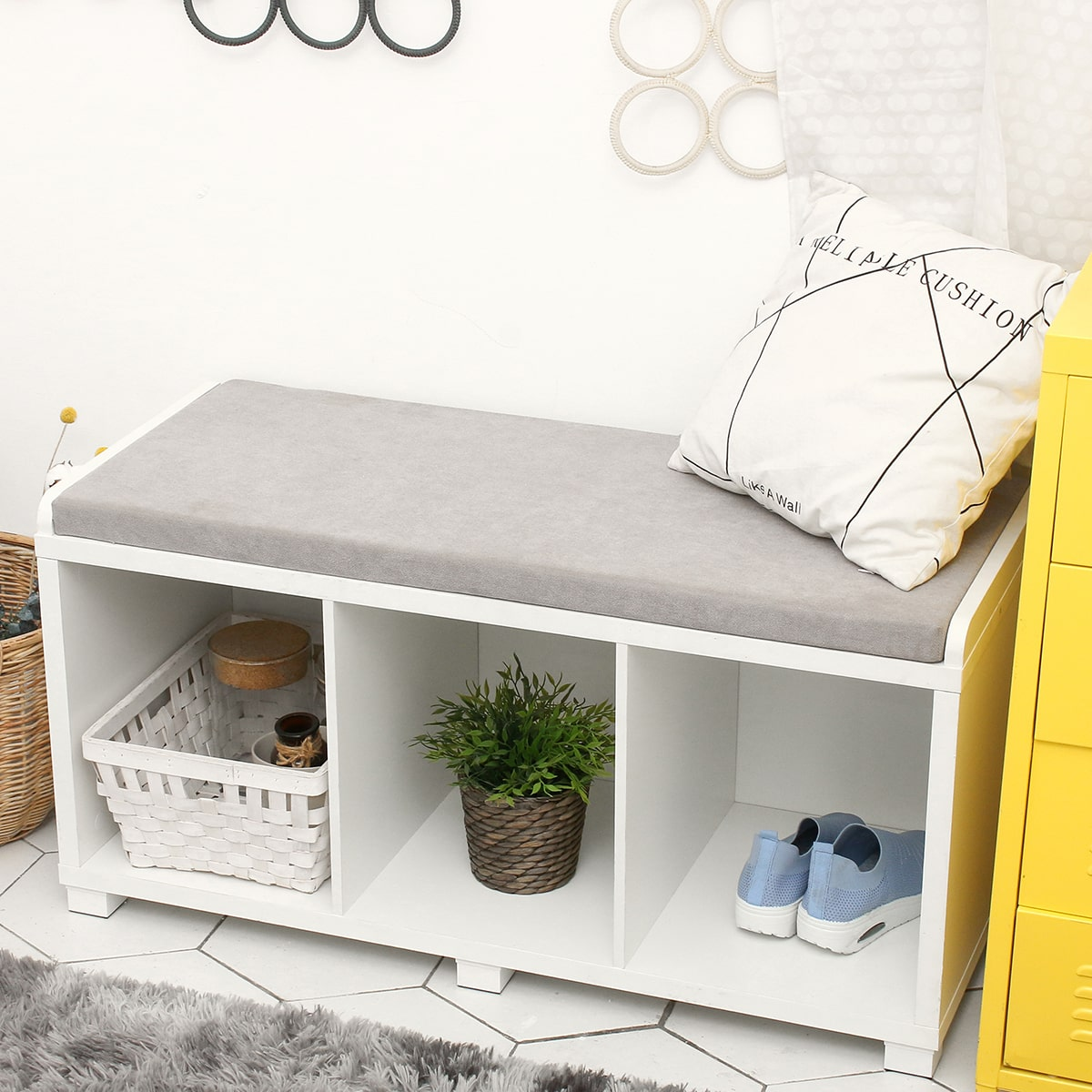 storage bench with items