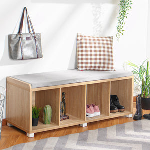 Simple Modern 4 Grids Shoes Storage Cabinet Bookshelf Bookcase Shoe Bench Shoes Organizer for Office Home Living Room