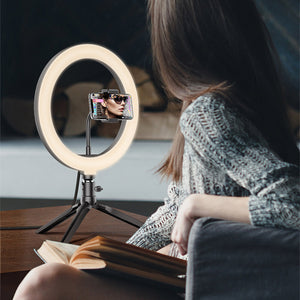 "Ring Light Kit 10"" Dimmable LED Bulbs 120 pcs Self-Portrait Shooting with phone holder and remote Suitable For Vloggers and tiktok"
