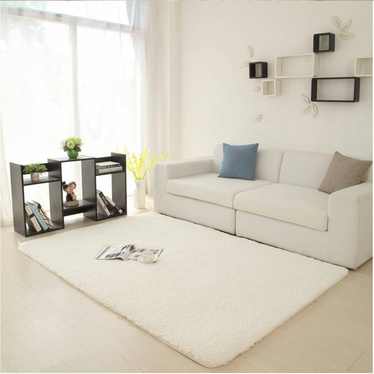 white rug with furniture
