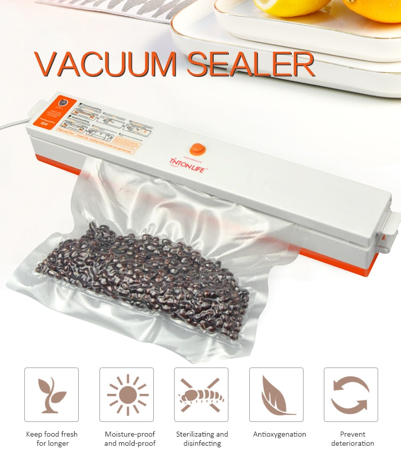 Vacuum Electric Machine Home Food Sealer Packaging Vacuum Packer Including 15Pcs Bags Portable Sealer Foodsaver