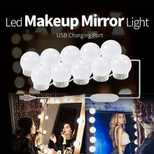 Vanity Makeup Mirror Hollywood Style Dimmable 10 Pcs LED Light Bulbs Kit with USB Cable Power Supply with 3 Lighting Levels