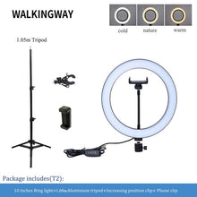 "Ring Light Kit 10"" Dimmable LED Bulbs 128 pcs Self-Portrait Shooting with tripod stand and phone holder Suitable For Vloggers"