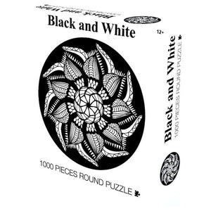 Black and White Round Jigsaw Puzzle 1000 pieces