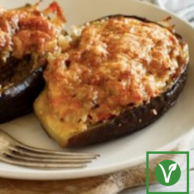 December 2: Stuffed Eggplant w/ Buttered Root Vegetables (prepared meal for 2)