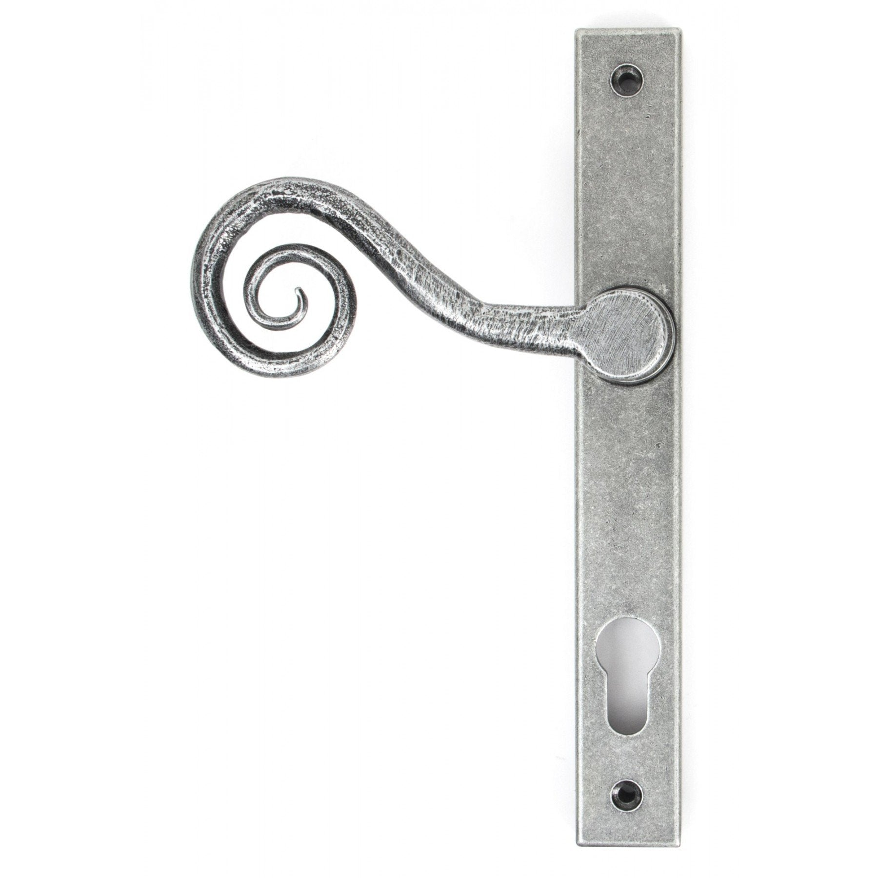 Pewter Patina Monkeytail Slimline Lever Espag. Lock Set - RH - No.42 Interiors