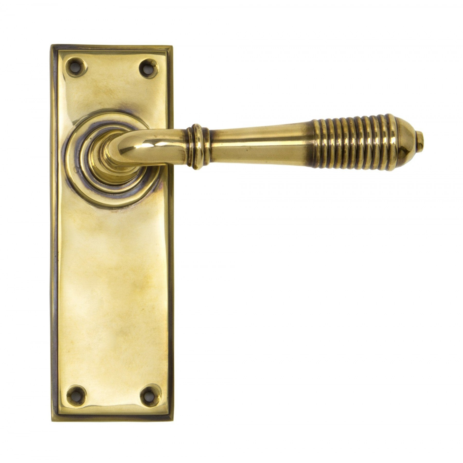 From the Anvil Aged Brass Reeded Lever Latch Set
