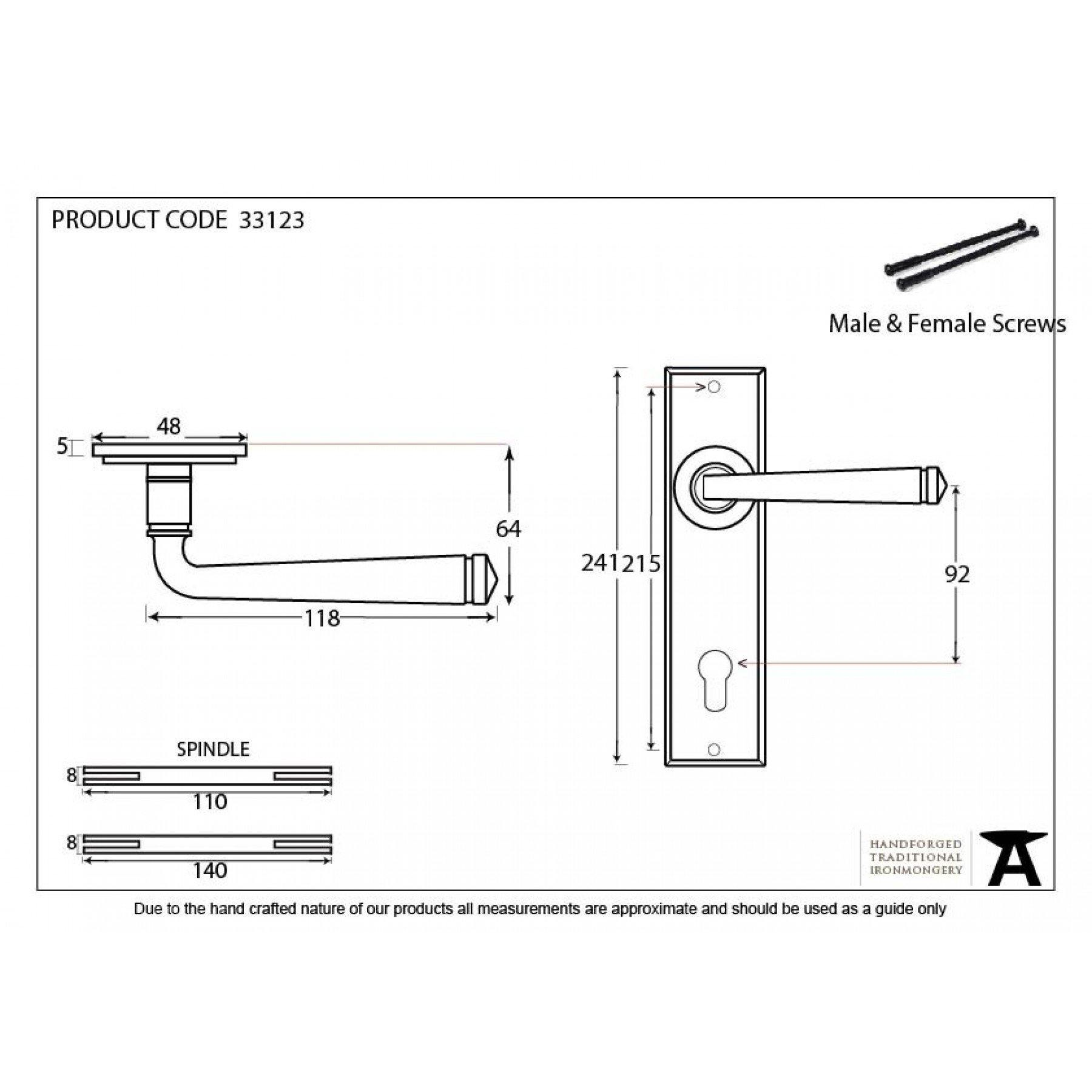 From the Anvil Black Avon Lever Espag. Lock Set