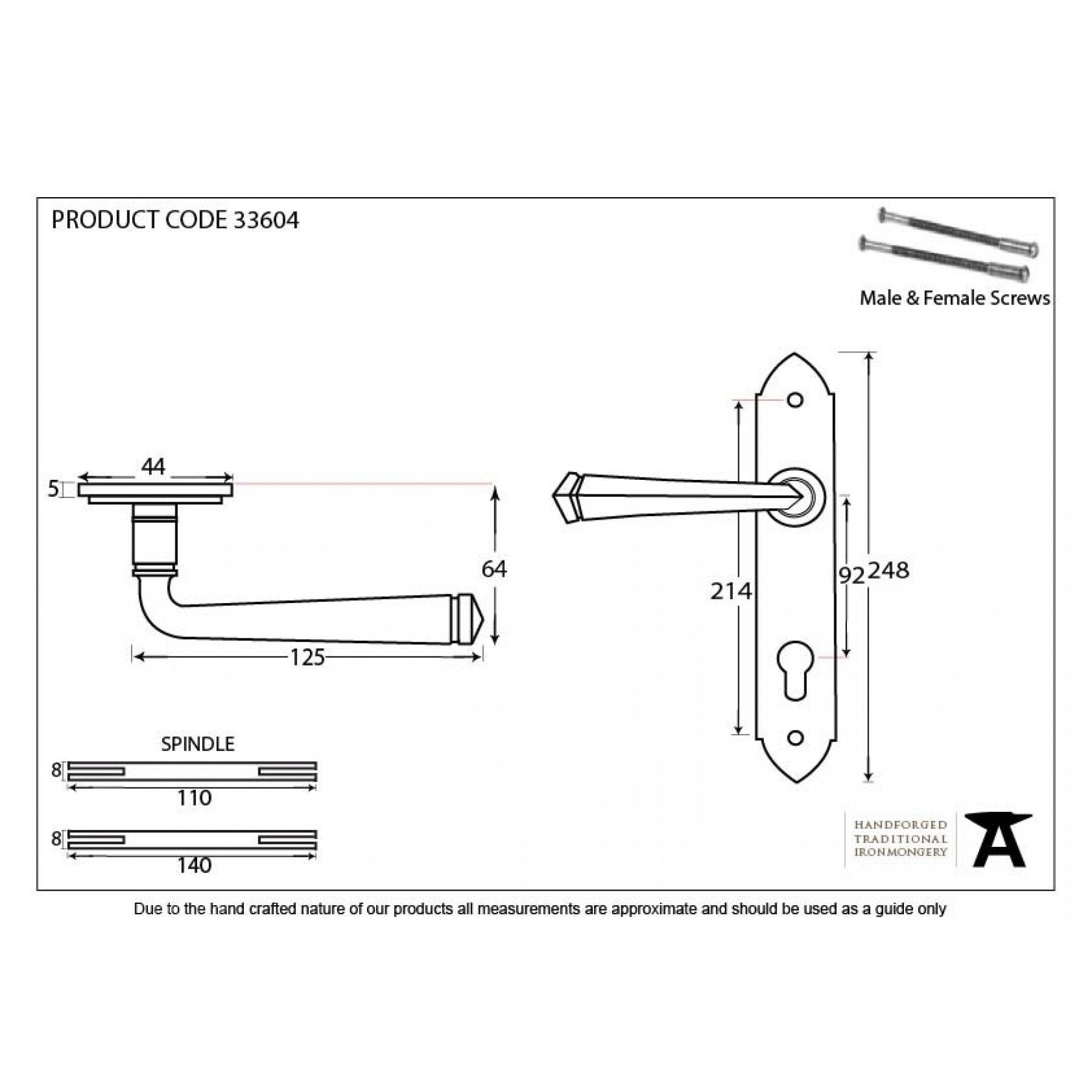 Pewter Gothic Lever Espag. Lock Set - No.42 Interiors
