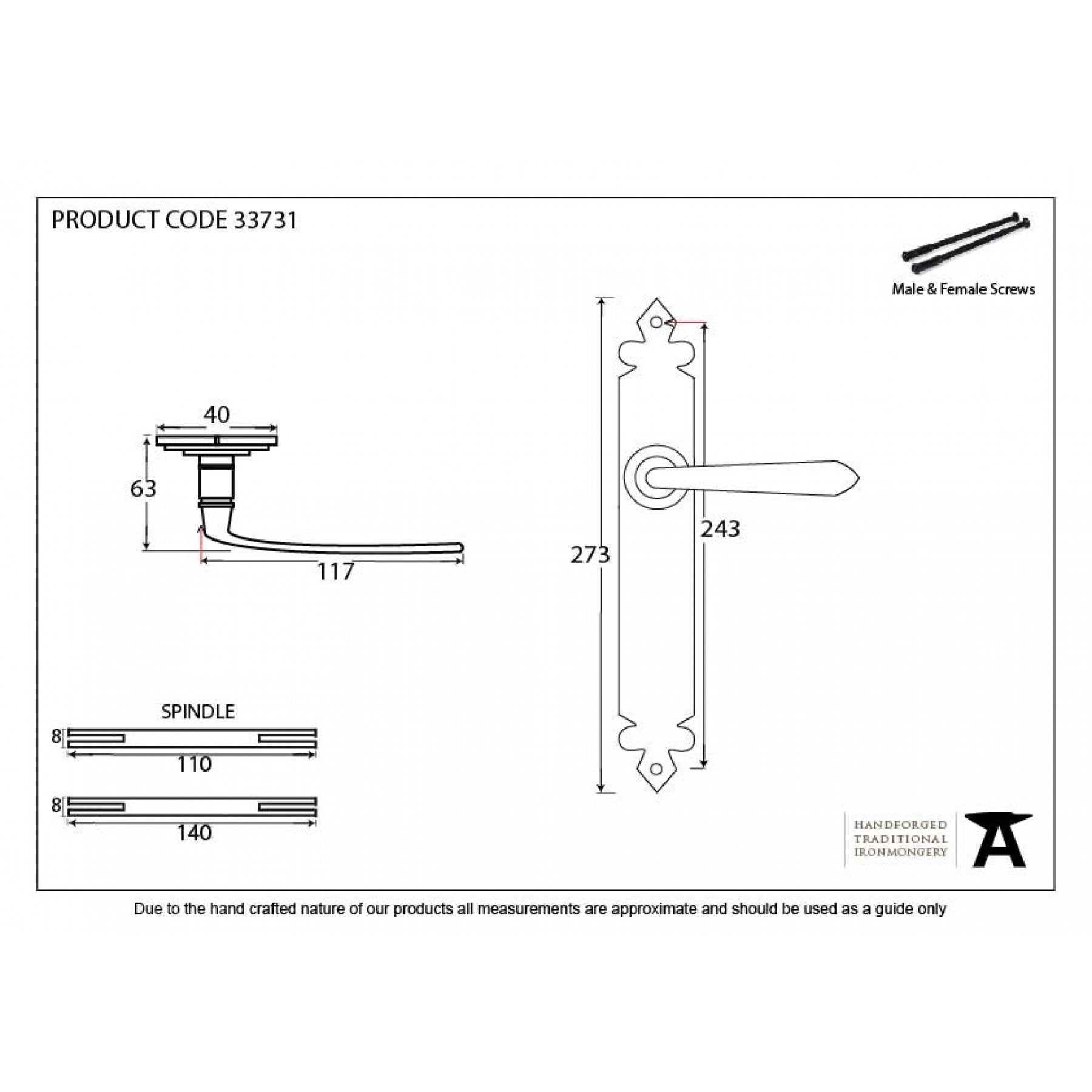 From the Anvil Pewter Cromwell Sprung Lever Latch Set