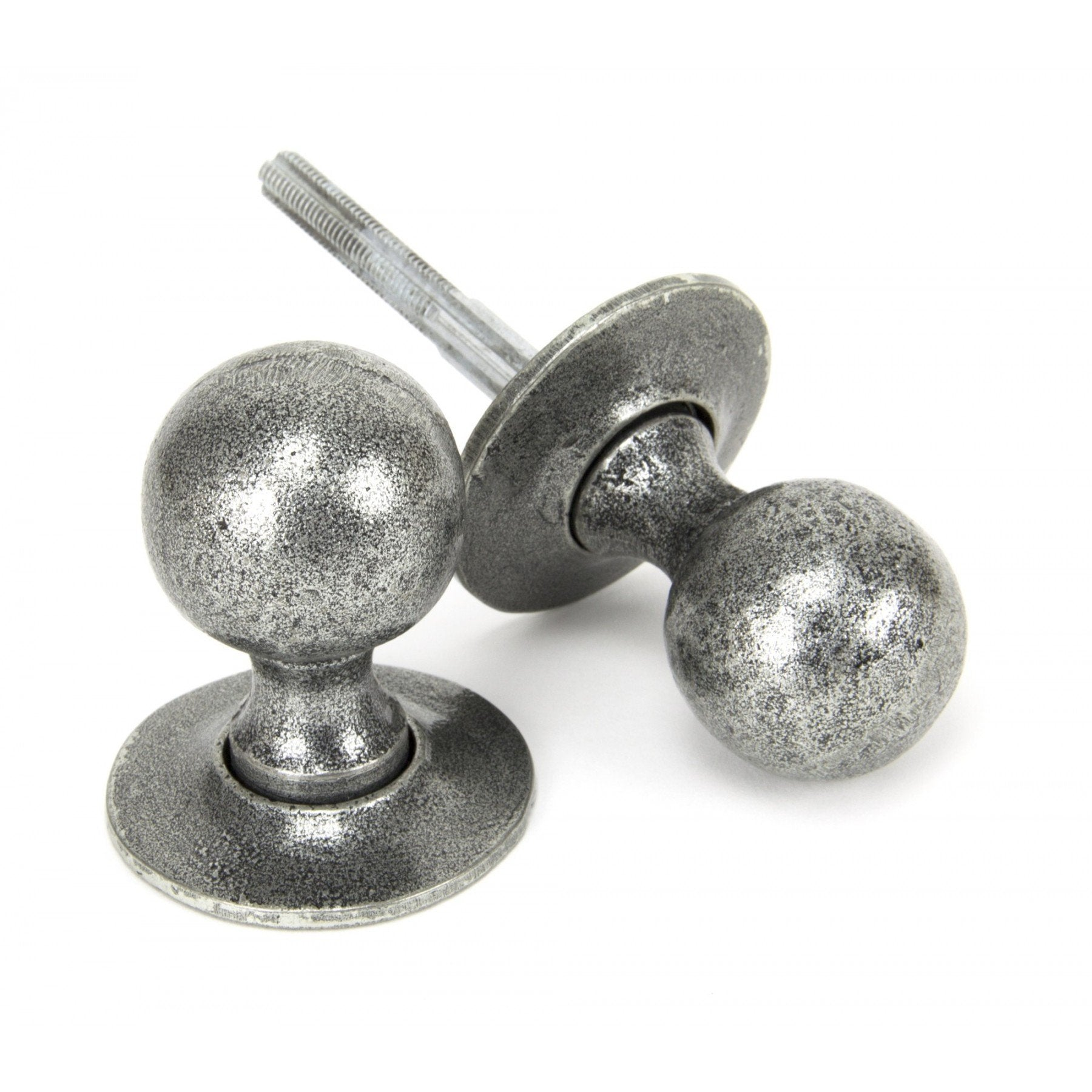From the Anvil Pewter Round Mortice/Rim Knob Set