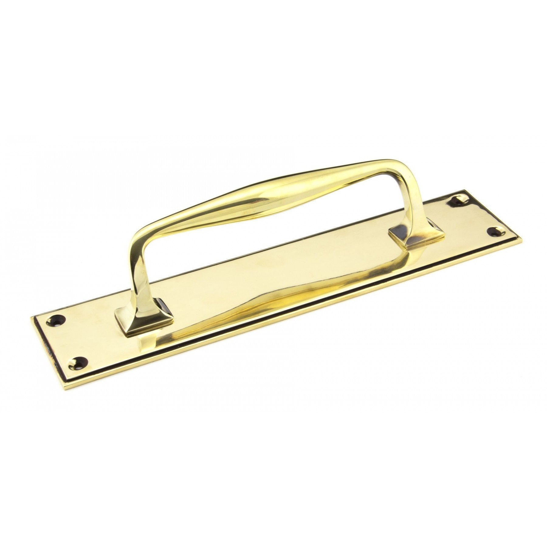 From the Anvil Aged Brass 300mm Art Deco Pull Handle on Backplate