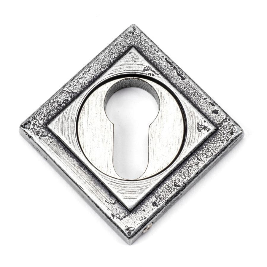 From the Anvil Pewter Round Euro Escutcheon (Square) - No.42 Interiors