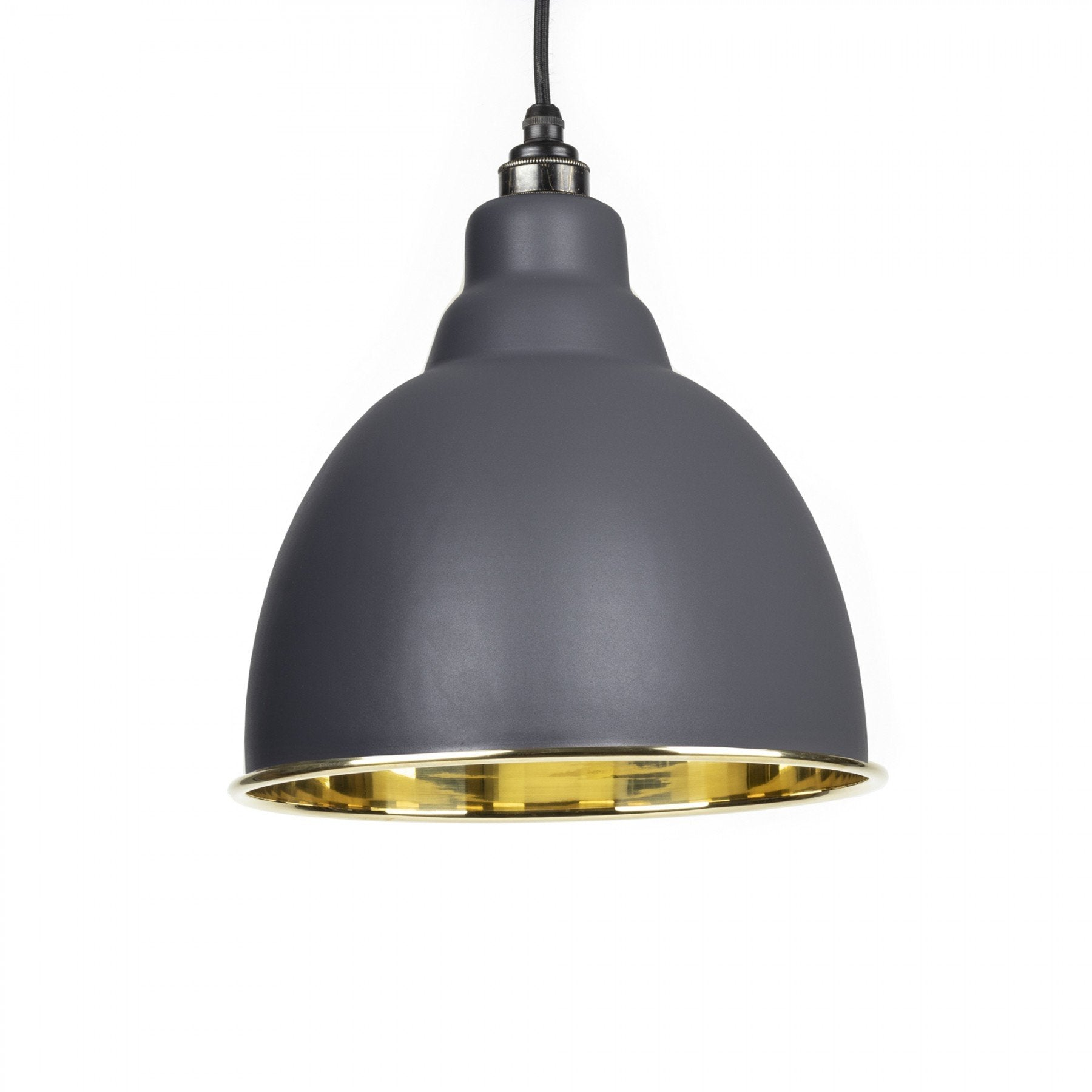 From The Anvil Dark Grey & Smooth Brass Interior Brindley Pendant - No.42 Interiors