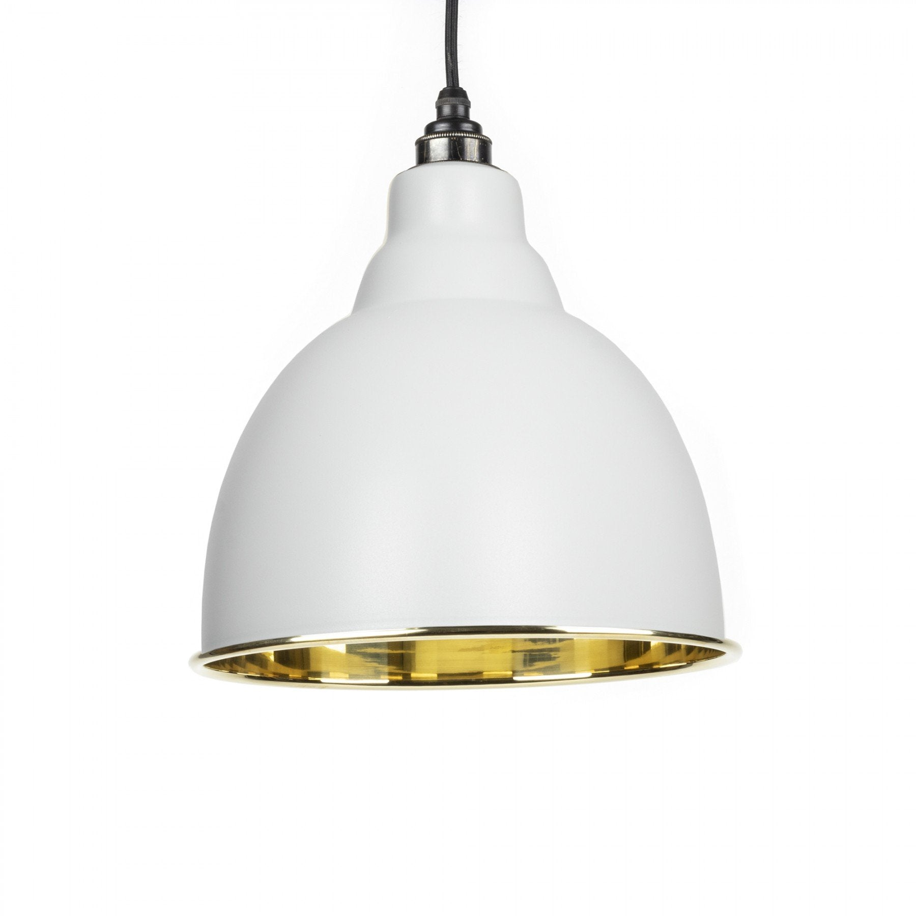 From The Anvil Light Grey & Smooth Brass Interior Brindley Pendant - No.42 Interiors