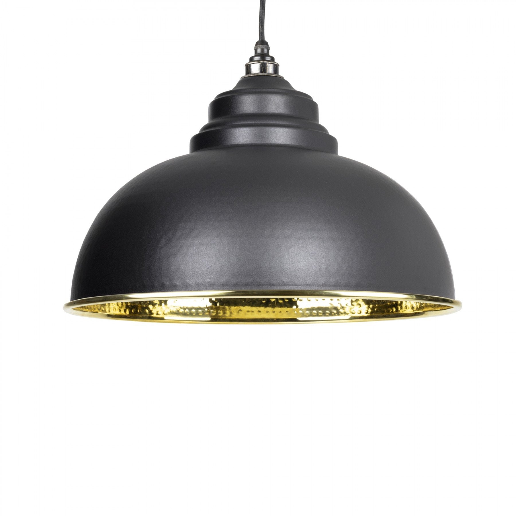 From The Anvil Black & Hammered Brass Interior Harborne Pendant - No.42 Interiors